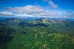 堪察加 绿色领域和火山 松鸡爱本质歌曲通配木头 免版税库存照片