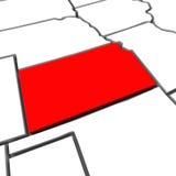 堪萨斯红色摘要3D状态映射美国美国 免版税库存照片