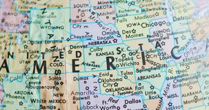堪萨斯美国4K转动的地球地图  影视素材