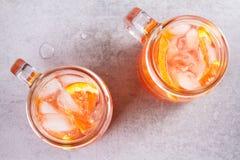 堪蓓莉开胃酒和苦艾酒鸡尾酒用桔子,装饰用麝香草 库存照片