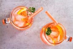 堪蓓莉开胃酒和苦艾酒鸡尾酒用桔子,装饰用麝香草 图库摄影