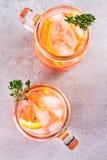 堪蓓莉开胃酒和苦艾酒鸡尾酒用桔子,装饰用麝香草 免版税图库摄影