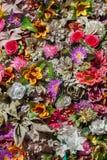 塑料五颜六色的花 木背景详细资料老纹理的视窗 库存照片