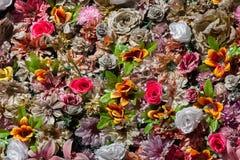 塑料五颜六色的花 木背景详细资料老纹理的视窗 免版税库存图片