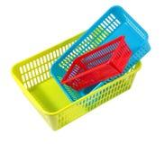 塑料产品家庭用途,三个颜色盒不同 免版税库存图片