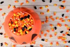 塑料南瓜糖味玉米 免版税图库摄影