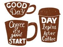 塑料和纸咖啡和茶杯 向量例证