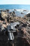 塑料左轮手枪枪 库存图片