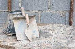 塑料建筑工具 免版税库存照片