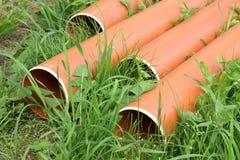 塑料排水设备管子 库存照片