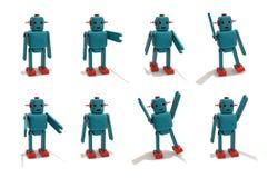 塑料机器人玩具用不同的姿势 库存照片