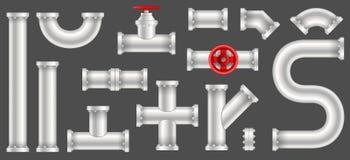 塑料水,油,气体管道的创造性的传染媒介例证,用管道输送在透明背景隔绝的污水 艺术 皇族释放例证