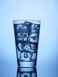 塑料瓶和一块玻璃与冰 图库摄影