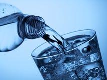 塑料瓶和一块玻璃与冰 免版税库存图片