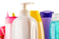 塑料瓶机体关心和美容品 库存照片