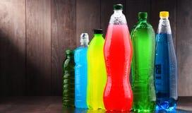 塑料瓶被分类的碳酸化合的软饮料 库存图片