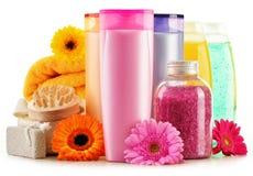 塑料瓶身体关心和美容品 免版税图库摄影