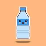 水塑料瓶kawawii标志 被隔绝的传染媒介例证  免版税库存图片