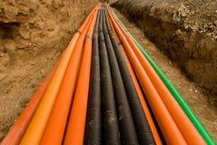 塑料电缆的管道 免版税库存照片