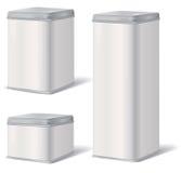 塑料盒集合 金属减速火箭的罐头 产品组装 免版税图库摄影