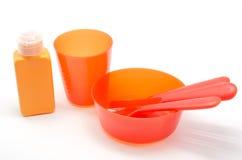 塑料碗筷 图库摄影