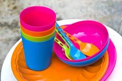 塑料碗筷 库存图片
