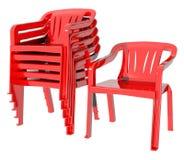 塑料红颜色椅子许多 图库摄影
