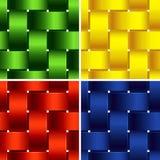塑料编篮艺品 四个明亮的无缝的样式 免版税库存图片