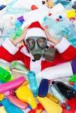 塑料被污染的圣诞节 库存照片