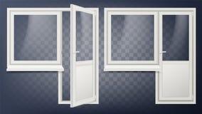 塑料门传染媒介 家庭内门和窗口 打开和关闭 塑料玻璃门 虚拟能源例证好的节省额 查出 库存例证