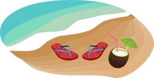 塑胶人字平底拖鞋和椰子 免版税库存照片