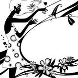塑造与女孩剪影的模板页黑白的 库存图片