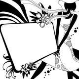 塑造与女孩剪影的模板页黑白的 免版税图库摄影