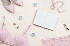 塑造与妇女典雅的桃红色鞋带胸罩的博客作者工作区和内裤、泵浦和笔记本 时髦的女用贴身内衣裤舱内甲板位置 库存照片