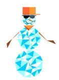 塑造与玻璃和棒球帽的雪人 节律唱诵的音乐charact 库存照片