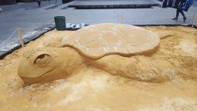 塑造书刊上的图片的有趣的沙子在马丁位置,悉尼,澳大利亚 库存照片