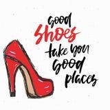 塑造例证,传染媒介剪影,烙记红色高跟鞋鞋子背景 免版税库存图片