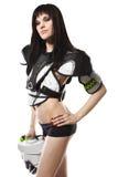 塑造在白色背景的性感的曲棍球成套装备 免版税库存图片