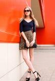 塑造在豹子裙子的美好的少妇模型 库存图片