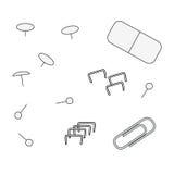 塑造外形文具对象,纸夹,钉书针,橡皮擦,别针 库存例证