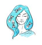 塑造女孩例证画象有蓝色头发的 库存例证