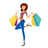 塑造女孩购物 有购物袋的美丽的妇女 免版税库存图片