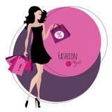 塑造女孩 袋子购物的妇女 免版税库存图片