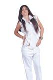 塑造女服白色裤子和衬衣被隔绝在白色 库存图片