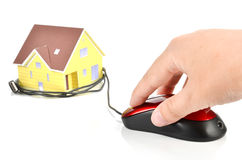 塑造房子和计算机鼠标 库存图片
