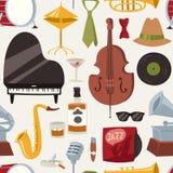 塑造爵士乐队音乐党标志和乐器声音音乐会音响蓝色无缝低音设计的传染媒介 免版税库存照片