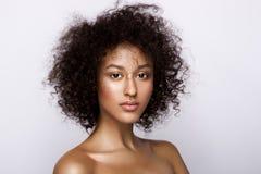 塑造美丽的非裔美国人的妇女演播室画象有完善的光滑的发光的混血儿皮肤的,组成 库存照片