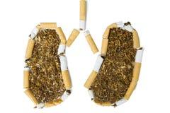 塑造肺的残破的香烟 免版税库存照片