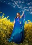塑造蓝色礼服摆在的美丽的少妇室外与多云剧烈的天空在背景中 可爱的长的头发浅黑肤色的男人 图库摄影