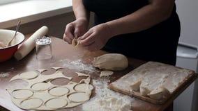 塑造饺子的妇女 影视素材